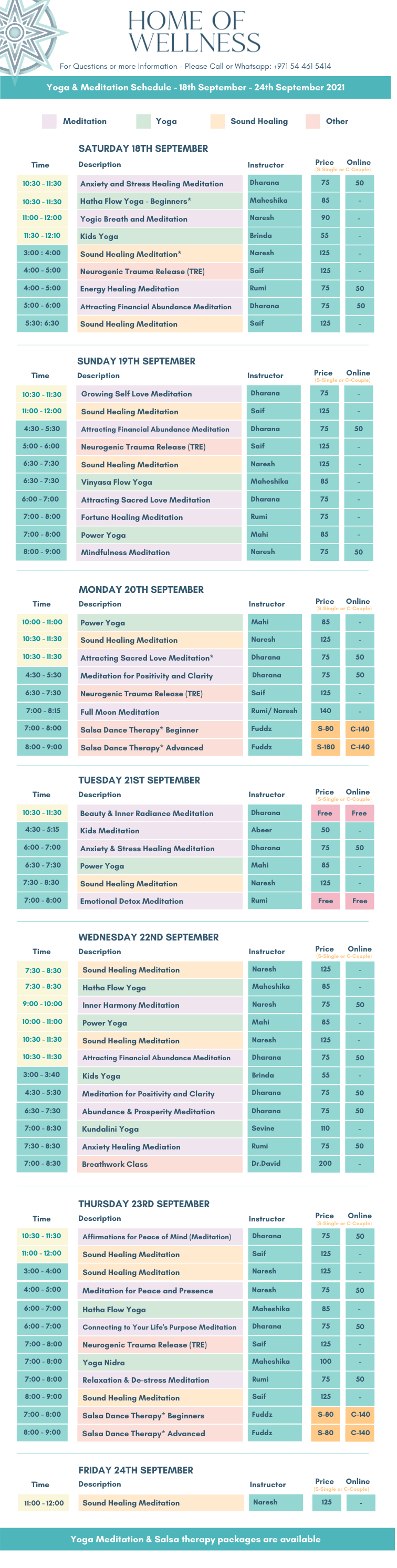 Final schedule 18th - 24th September